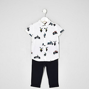 Mini boys white print shirt and chinos outfit