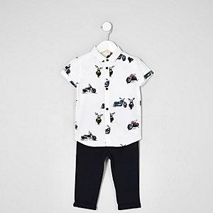 Mini - Outfit met wit overhemd met print en chino's voor jongens