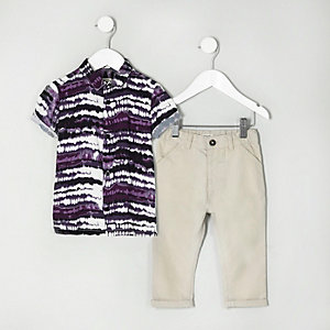 Mini boys tie dye shirt and chinos outfit