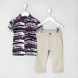 Mini - Outfit met tie-dye overhemd en chino voor jongens