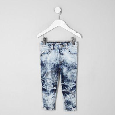 Mini Sid Blauwe acid wash skinny jeans voor jongens