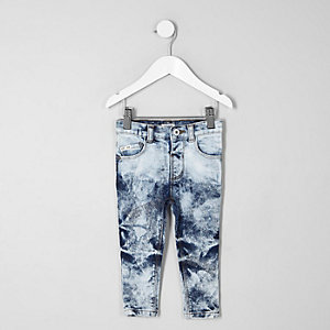 Mini - Sid - Blauwe acid wash skinny jeans voor jongens