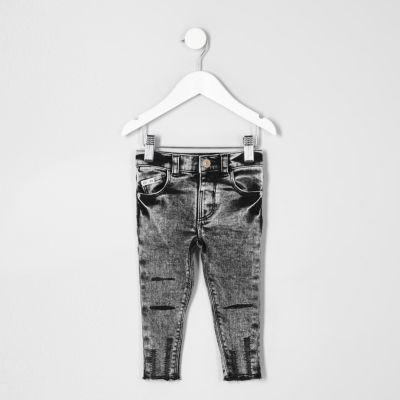 Mini boys black acid wash Sid skinny jeans