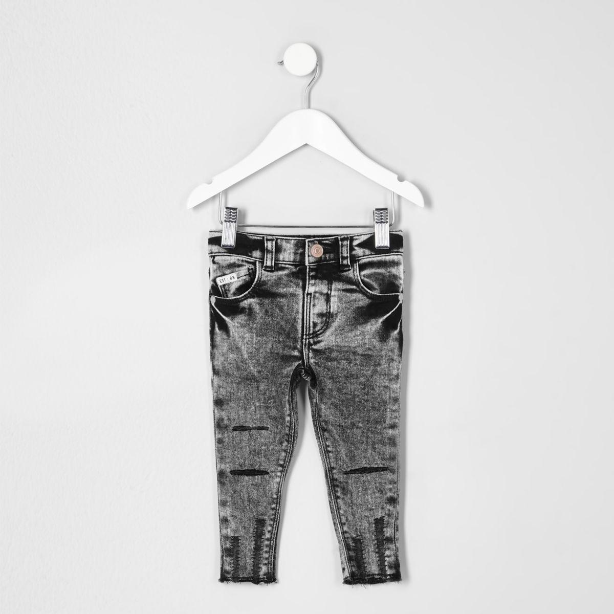 Mini boys black acid wash Sid skinny jeans