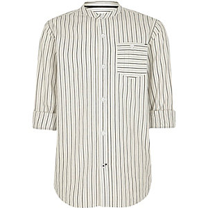 Crème gestreept overhemd zonder kraag voor jongens