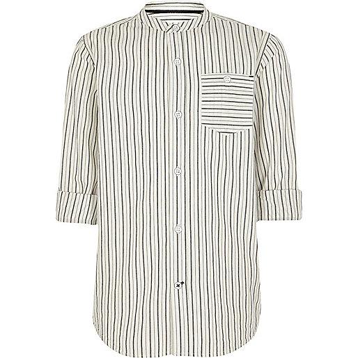 Boys cream stripe grandad shirt