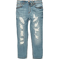 Boys mid blue ripped Dylan slim fit jeans