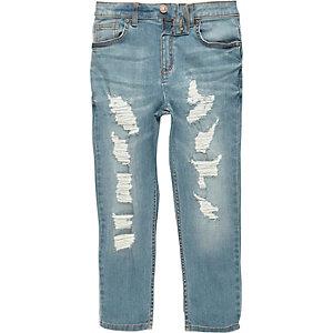 Dylan - Middenblauwe gescheurde slim-fit jeans voor jongens