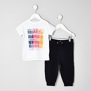 Mini boys white Ibiza print T-shirt outfit