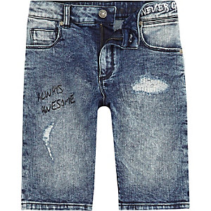 Boys slogan print Dylan slim fit denim shorts