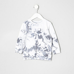 Mini boys white marble print sweatshirt