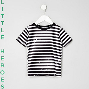 Mini boys black stripe paint T-shirt