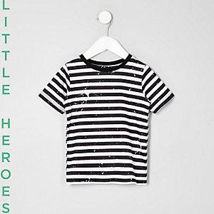 Mini - Zwart gestreept T-shirt met verfspettermotief voor jongens