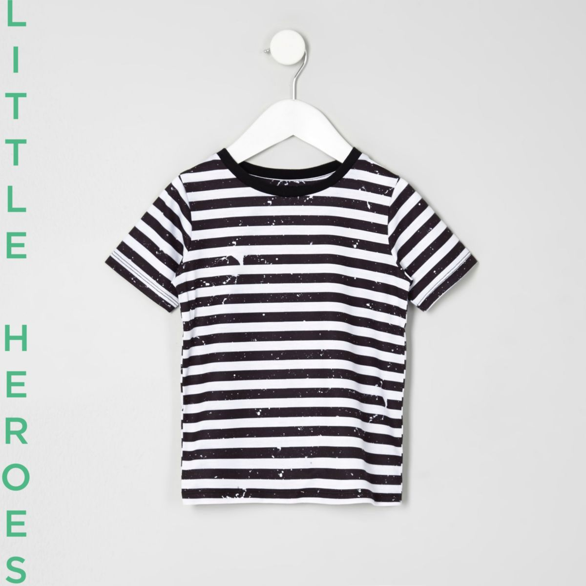 Mini boys black stripe paint T-shirt