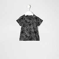 Mini boys grey skull print burnout T-shirt