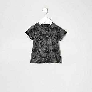 Mini boys grey skull print burnout T-shirt