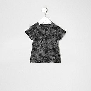 T-shirt imprimé tête de mort gris effet usé pour mini garçon