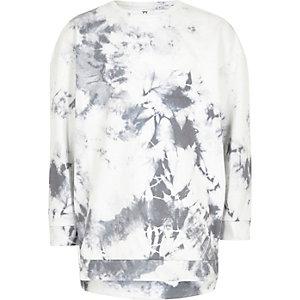Boys white marble print sweatshirt