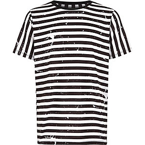 Boys white stripe print short sleeve T-shirt