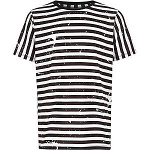Boys white stripe print short sleeve T-shirt