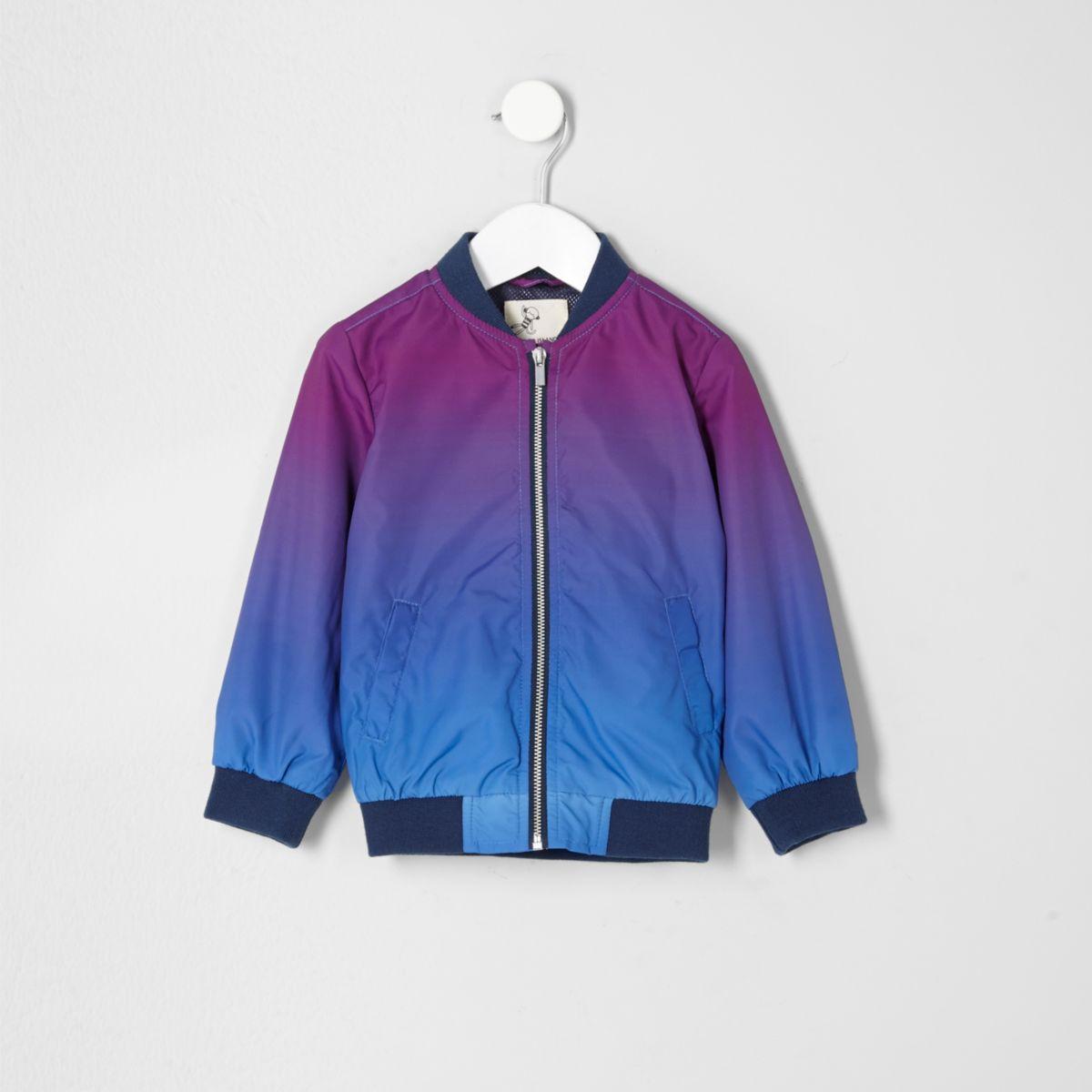 Mini boys purple color fade bomber jacket
