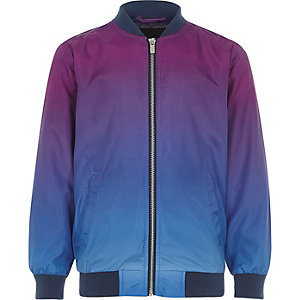 Boys purple colour fade bomber jacket