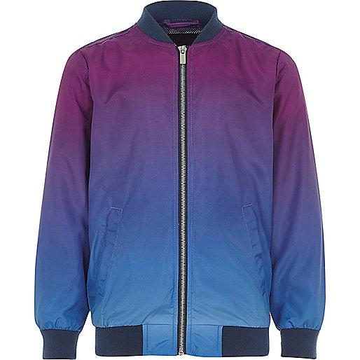 Boys purple color fade bomber jacket