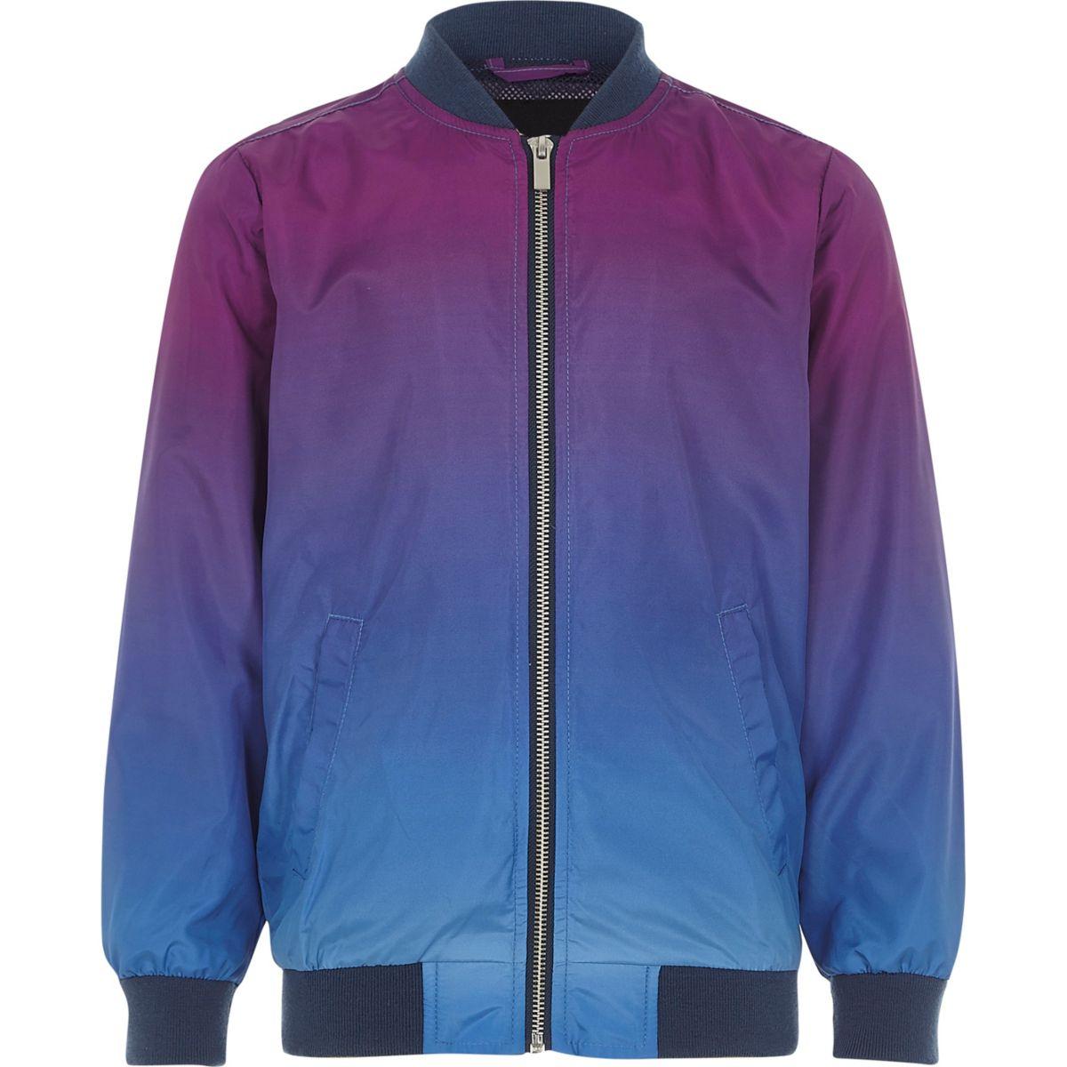 Boys purple colour fade bomber jacket