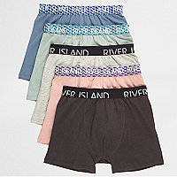 Boys blue geo waistband boxers multipack