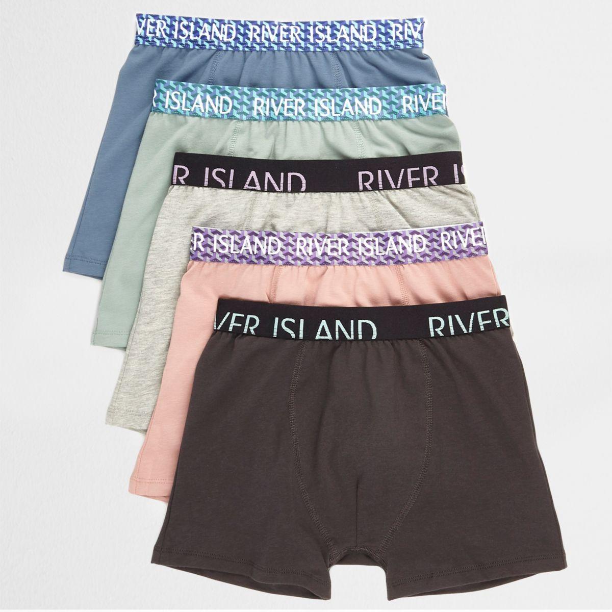 Boys blue geo waistband boxers multipack