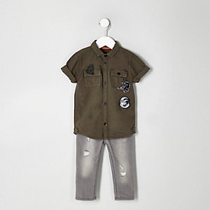 Mini boys khaki panther patch shirt outfit
