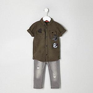 Ensemble avec t-shirt kaki à écusson panthère pour mini garçon