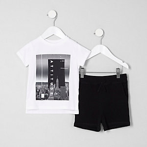 Mini boys white 'attitude' T-shirt outfit
