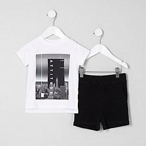 Ensemble avec t-shirt « Attitude » blanc mini garçon
