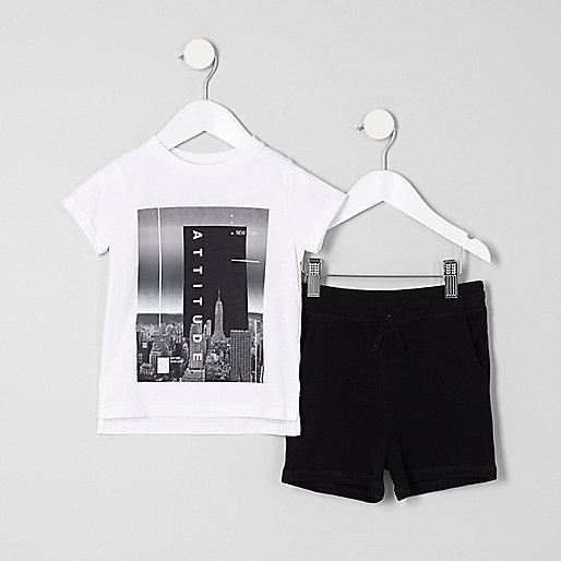 Mini boys white 'attitude' T-shirt outfit