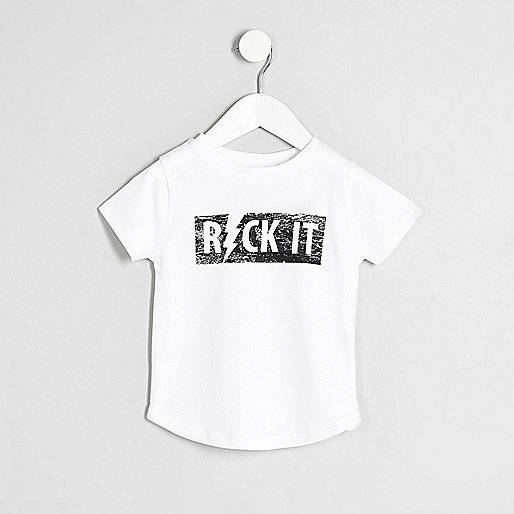 Mini boys white 'Rock It' T-shirt