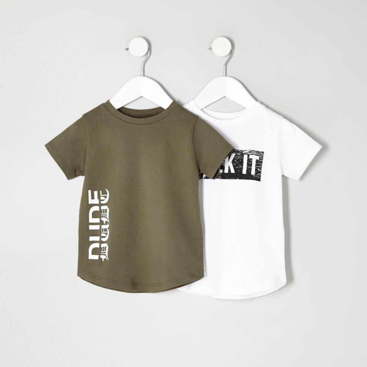 Mini boys khaki and white print T-shirt set