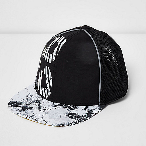 Boys black '93' print mesh cap
