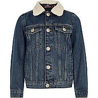 Boys blue borg colllar denim jacket
