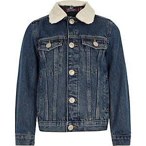 Boys blue fleece collar denim jacket