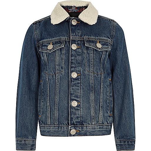 Boys blue fleece colllar denim jacket