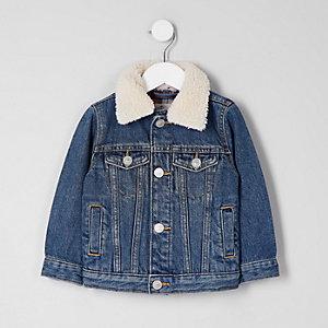 Mini – Blaue Jeansjacke mit Kragen für Jungen