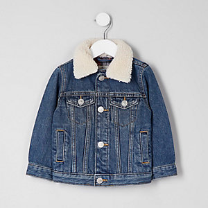 Mini boys blue denim fleece collar jacket