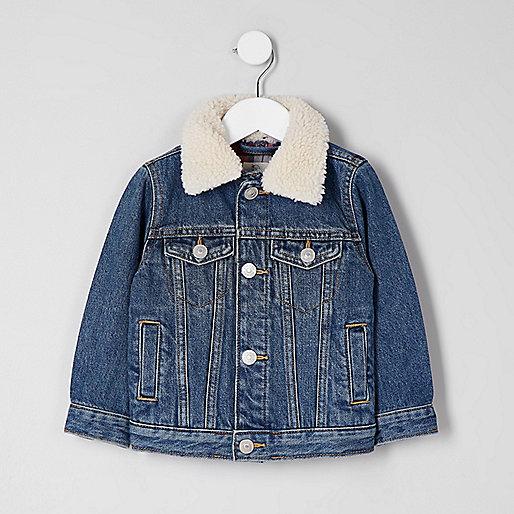 Mini boys blue denim fleece collar jacket