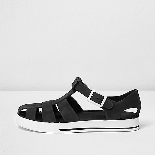 Boys black jelly sandals