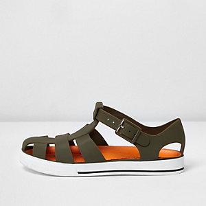 Kaki jelly sandalen voor jongens