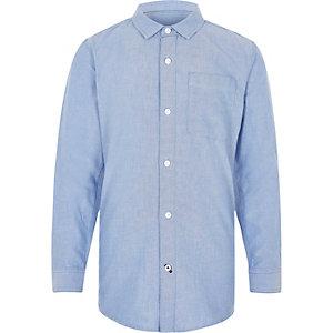 Blauw Oxford overhemd met lange mouwen voor jongens