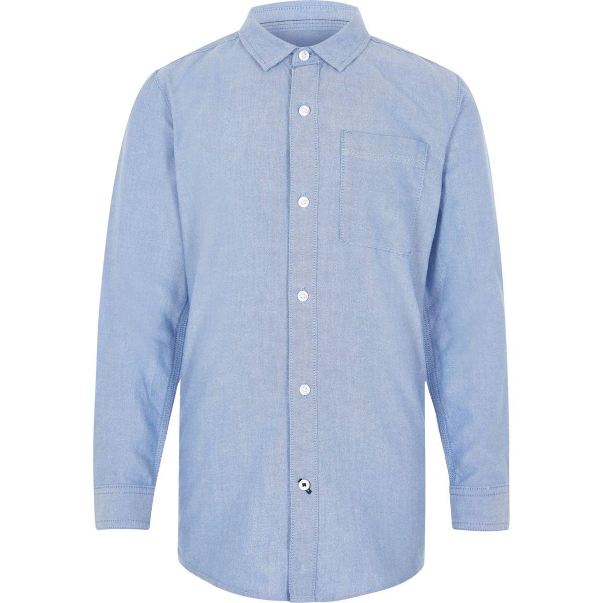 Boys blue long sleeve Oxford shirt