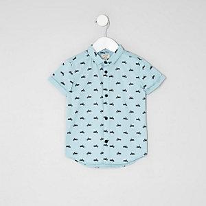 Mini - Blauw overhemd met motorprint en korte mouwen voor jongens