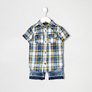 Ensemble short et chemise à carreaux bleue mini garçon